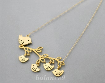Mother gift bird necklace Bird family necklace jewelry, delicate branch gold filled chain, Mama bird 2 3 4 baby birds, mom love, by balance9