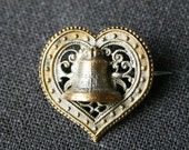 Lovely heart and bell vintage brooch.