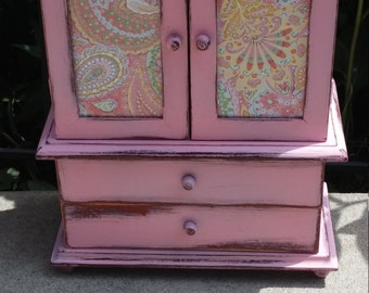 "Pink Shabby Chic Large ""Live Laugh Love"" Jewelry Box"