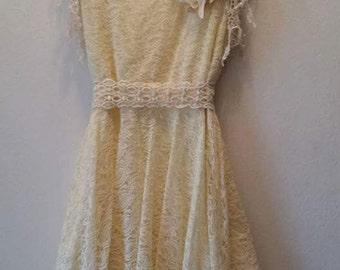 SALE- ivory lace wedding dress plus size, reception dress, handkerchief hem, layered, gatsby, handmade wedding, diy, boho, bohemian nuptials