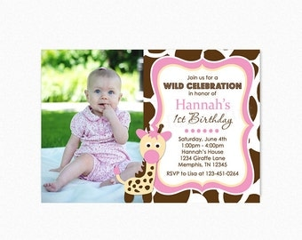 Giraffe Birthday Party Invitation, Giraffe Birthday Invitation, Printable Giraffe Invitation, Pink, Yellow, Brown,