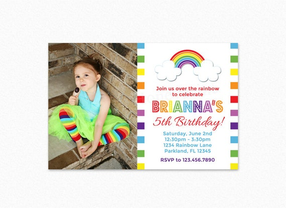 Rainbow Birthday Party Invitation, Rainbow Invite, Rainbow Birthday Invitation, Rainbow Party, Printable Invitation