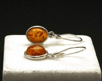 Amber Earrings, Sterling Silver and Natural Baltic Honey Amber Dangle Earrings, Simple Everyday Gemstone Earrings for Her, Amber Jewelry