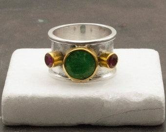 Emerald Ring, Wide Band Ring, Emerald Statement Ring, Sterling Silver Gemstone Ring, Unique Handmade Ring, Birthstone Ring, Emerald Jewelry