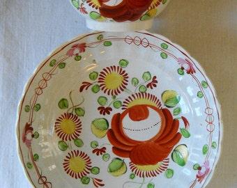 ANTIQUE HANDPAINTED FOLKART Cup & Bowl Blue Underglaze Fine Porcelain Tea Cup And Bowl Vintage Art Ceramics