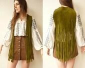 1970's Vintage Moss Green Suede Fringed Tassel Waistcoat Size S/M
