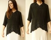 Vintage 1940's Black Crepe Peplum Top Blouse With Beading Size Large