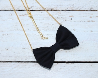 Black Matte Cotton Bow-tie Necklace, Bowtie for Women, Girls - 18-20 inches Adjustable Chain - Casual, Bohemian, Party, Wedding, Gift
