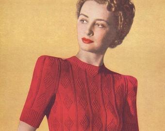 "1940s Ladies Sleek and Smart Diamond Patterned Jumper 33"" Bust Penelope Briggs M1273 Vintage Knitting Pattern PDF Instant Download"