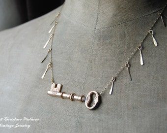 The Key To My Heart--Antique Victorian Chased Key Gold Filled Chain Hand Forged Gold Filled Tassel NECKLACE