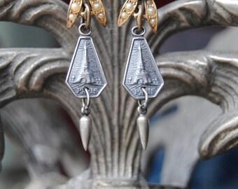 Oui Paris'--Vintage Seed Pearl Rhinestone Souvenir French Eiffel Tower Charm Tassel EARRINGS