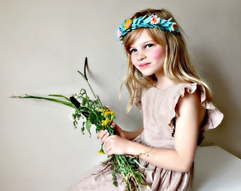 Felt Flower Headband Crown Hair Halo, Hair Flowers, Fall Headband, giddyupandgrow