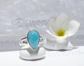 RESERVED Larimarandsilver ring size 7, Blue Caribbean - deep blue Larimar pear, deep turquoise, Caribbean blue, sky blue azure handmade ring