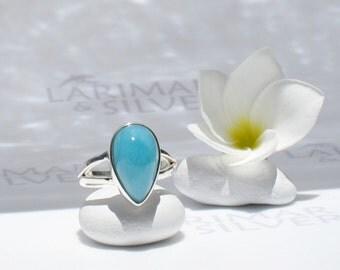 Larimarandsilver ring size 7, Blue Caribbean - deep blue Larimar pear, deep turquoise, Caribbean blue, sky blue, azure handmade Larimar ring