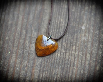 Rustic Amber Heart - Unisex Amber heart bead on leather strap - Genuine baltic amber necklace, talisman pendant
