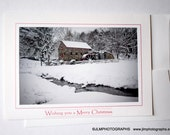 Wishing you a Merry Christmas, Christmas Cards, Holiday Greetings, Grist Mill New England, One Card, Four Cards, Snowy Scene, Photo Card