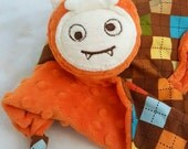 Baby Blanket, Blankie, Monster Security Blanket in Orange Minky, Lovey Blankie for a Baby Boy, Nursery Baby Blanket, Baby Boy, Plushie