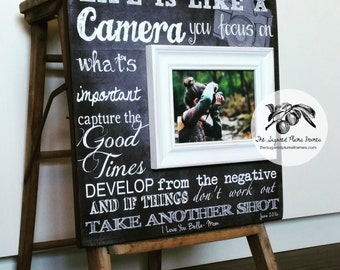 Photographer Gift, Camera, Graduation Gift, Senior Gift, Life Is Like A Camera, Photography, 16x16 The Sugared Plums Frames