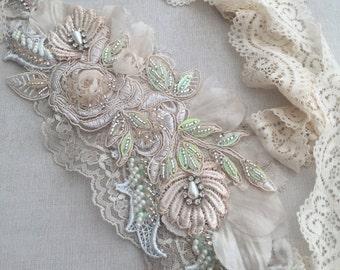 Blush/Ivory beaded lace sash