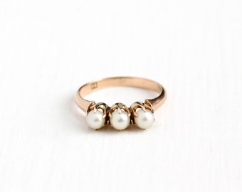 Antique Victorian 14k Rose Gold Cultured Pearl Ring Band - Vintage Early 1900s Size 5 1/2 Three Stone Fine Stacking Gemstone Jewelry