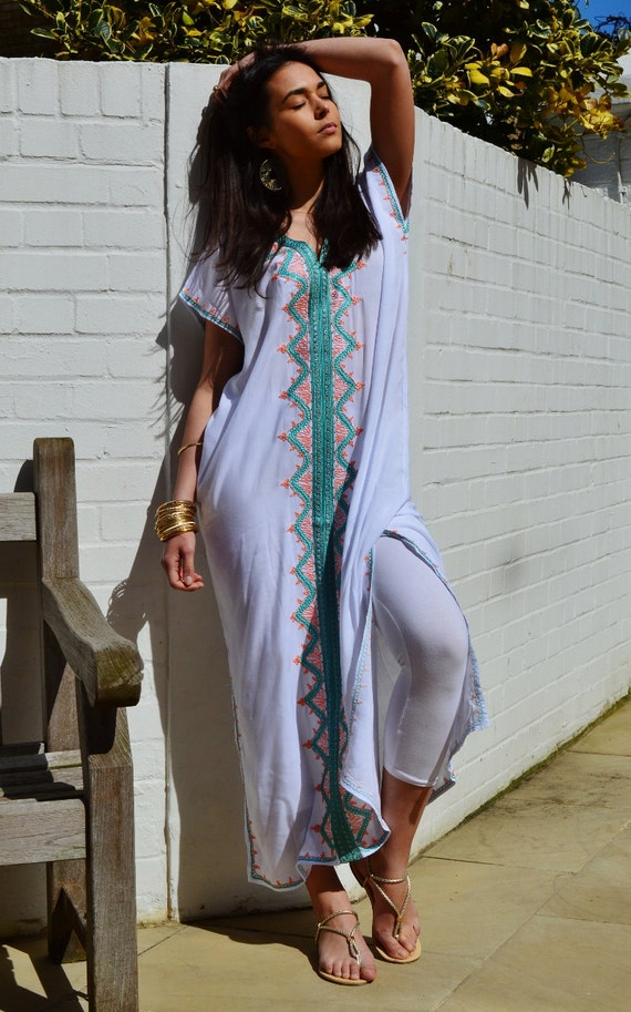 Trendy White Zahra Boho Caftan Kaftan -loungewear,resortwear,spa robe, great for Birthdays, Honeymoon, Wedding, Maternity gifts