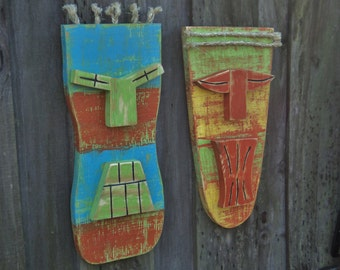 Tiki Man, Tiki Mask, Wall Hanging, Wood Sculpture, Lake House