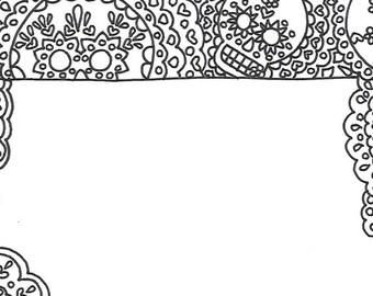 Day of the dead printable unlined sugar skull stationery page, dia de los muertos