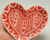Small Heart Shaped Dish Red and White Hand Painted Dinnerware