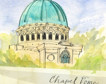 """United States Naval Academy Chapel Dome (8.5""""x11"""")"""
