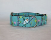 Petal & Plume Martingale Dog Collar - 1.5 or 2 Inch - teal white vine bird wren blossom jay turquoise feathers beautiful