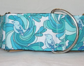 Bluebird Martingale Dog Collar - 1.5 or 2 Inch - colorful birds swirl flower petals white turquoise teal