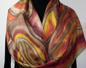 Silk Scarf Hand Painted in Brown, Tan, Terracotta. Hand Dyed Silk Scarf RUM COCKTAIL. Large 14x72 Birthday Gift, Gift-Wrapped