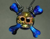 Art Glass Pendant - Skull and Cross Bones by Tim Keyzers