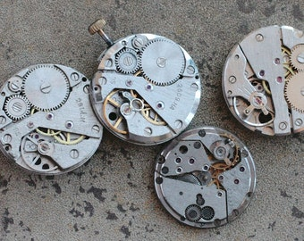 Vintage watch movements -- set of 4 -- D6