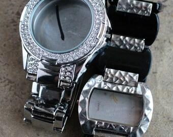 Large Wrist watch bracelets with empty cases -- set of 2 -- D16
