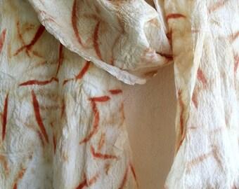 Eco printed leafy silk nuno felt scarf perfect gift