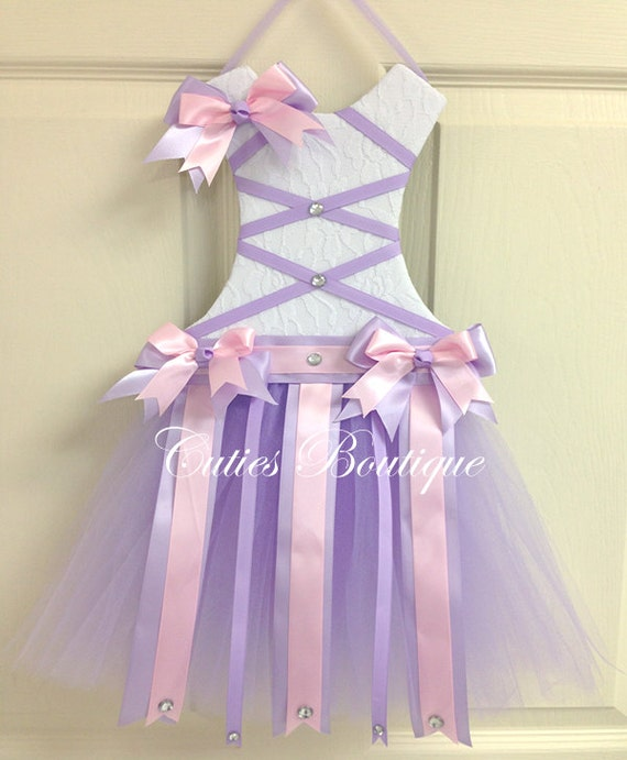 Tutu Dress Hair Bow Holder Lavender Pink Perfect Gift For Birthday Baby Shower It's a Girl