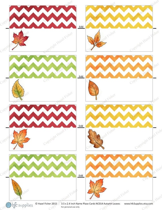 Autumn leaves place cards fall woodland leaf design thanksgiving