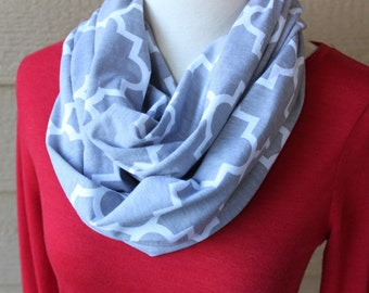 Gray Infinity Scarf - Grey Geometric Scarf, Soft Jersey Circle Scarf, Lightweight Loop Cowl, Woman's Spring Scarf, Mother's Day Gift Neutral