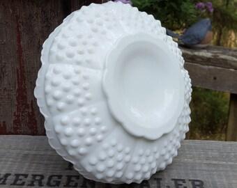 Fenton Candle Holder - Chip and Dip - Ashtray - Soap Dish - White Hobnail Milk Glass - Oak Hill Vintage