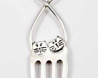 Sterling Fork Cat Jewelry, Women's Unusual Sterling Jewelry, Silverware Jewelry, Robin Wade Jewelry, Fork Cats Lula And Larry,fork cat, 2265