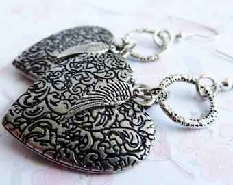 Heart earrings, wing earrings, charms, dangle, big earrings, for her, romantic jewelry