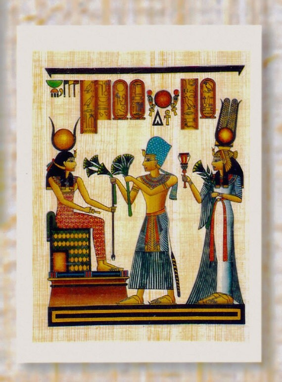 Genuine Egyptian Papyrus Notecard! Egyptian King and Queen greeting Goddess of Motherhood Isis. Unique Gift. Beautiful design.