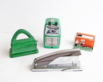 Reserved Listing  Retro Green Desk Accessories, Comet Stapler, Hole Punch, Pencil Shapener, Box of Labels,  Office Supplies,