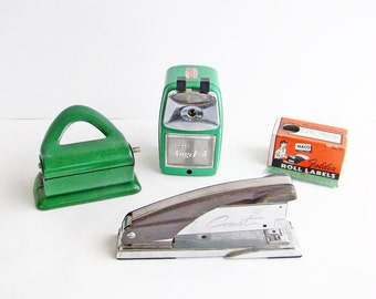 Retro Green Desk Accessories, Comet Stapler, Hole Punch, Pencil Shapener, Box of Labels,  Office Supplies,