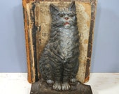 Antique Cast Iron Sitting Cat Doorstop, Bradley & Hubbard, RARE, Detailed Casting, Cat Lover Collectible, Home Decor