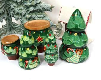 Vintage Nesting Christmas Tree Set of Three,  Matryoshka, Holiday, Wooden, Handpainted, Christmas Decor
