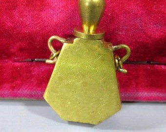 Vintage Brass Perfume Bottle Vial Pendant, Screw Off Lid Stopper, Vintage Jewelry