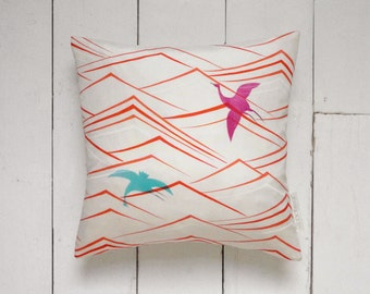 On Sale! Contemporary Style Japanese Vintage Kimono Silk Pillow Cushion 'Diving Cormorants'