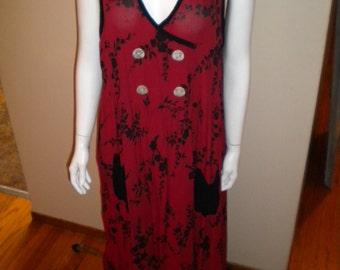 Vintage 1990's Sareet 100% rayon Hippie Festival Tank dress Size medium Cute!